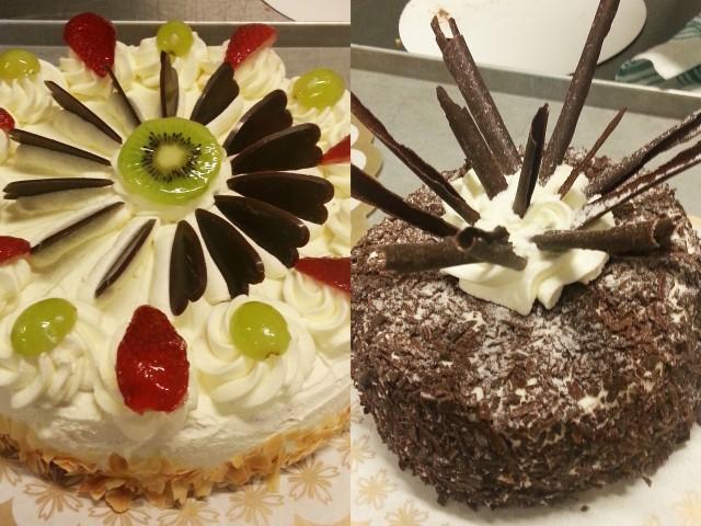 Slagroomtaart en Kirsch taart